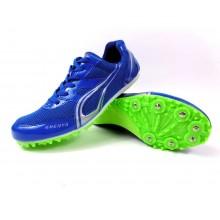 Niebieskie buty lekkoatletyczne z kolcami do biegów i skoków na bieżni