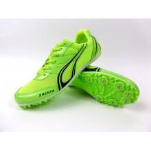 Zielone buty lekkoatletyczne z kolcami do biegów i skoków na bieżni