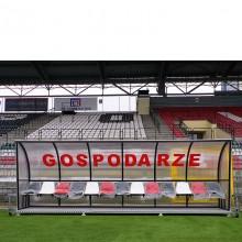 Wiata stadionowa W-2 pokryta poliwęglanem litym brązowym