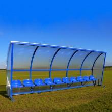 Wiata stadionowa W-3 pokryta poliwęglanem litym brązowym