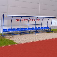 Wiata stadionowa W-4 pokryta poliwęglanem litym brązowym